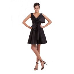 bow picture lady Coupons - High Quality Little Black Short Dress Ladies Prom Party With Bow Handmade Flower Popular Bridesmaid Dress