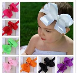 Wholesale Solid Hairbands - Infant Bow Headbands Girl Flower Headband Children Hair Accessories Newborn Bowknot Flower Hairbands Baby Photography Props 16colors 20pcs