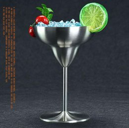 Wholesale Martini Glass Cup - Stainless Steel Wine Glass Cup Wine goblet Mug Beer Cup wine glass Goblet Martini Cocktail Margarita Glass Mugs beer cup 30pcs KKA1593