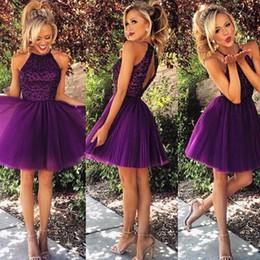 Wholesale Ball Dresses Aline - Grape Purple Homecoming Dresses pufffy skirt Halter Crystals Beading Tulle Pleats Aline Party Dress Custom Made
