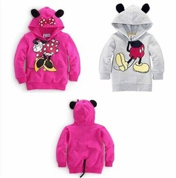 Wholesale New Kids Sportswear - New Baby Girls Boys Kids Mickey Mouse Minnie Sweatshirts Hoodies Coat Sportswear Costume Outfits Set Clothes B0814