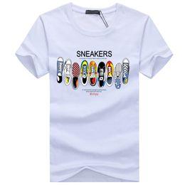 Wholesale Quick Drying Shoes Men - New T Shirt Men Summer Fashion Sneakers Printed Men T-shirt Cotton Short Sleeve O Neck Casual Funny Shoes Print Shirts Men