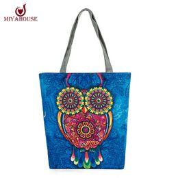 Wholesale Wholesale Used Women Bags - Wholesale-Cartoon Owl Printed Casual Tote Fashion Women Canvas Beach Bag Female Canvas Handbag Daily Use Single Shoulder Shopping Bags