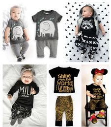 Wholesale Spring Shirts For Girls - Multi Style Baby infants fashion printing 2pc set ins hot T shirt 2pc set top and pants outfits for boys girls 0-3T