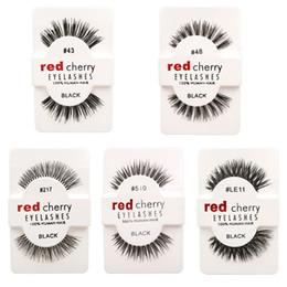 Wholesale Red Cherry Makeup - False Eyelashes 100% Human Hair Eye lashes Red Cherry Makeup Beauty Wholsale