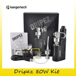 Wholesale Kanger Liquid - Original Kanger DRIPEZ 80W Starter Kit with Two Pumps Easy Liquid Addition Powered for Single 18650 Battery 100% Genuine DHL Free 2211087
