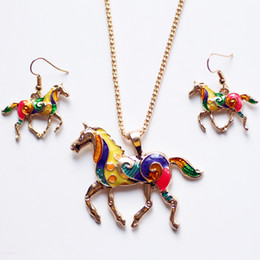 Wholesale Earring Pendants - Horse Pendant Necklace Fashion Enamel Rainbow Horse Charm Necklace Earring Sets Women Jewelry Silver Gold Plated Enamel Jewelry Set Gift