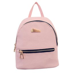 Wholesale Leather Travel Bags For Women - Women leather backpack Hit color feminine school bags for teenagers rucksack Leisure knapsack backpacks travel 19cm*17cm*12cm