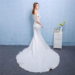 Wholesale Korean Princess Photo - Real Photo Sexy Mermaid Train Wedding Dress 2017 New Style Korean Smiple Lace Crystal Fishtail Bride Princess estidos de noiva