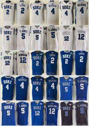 Wholesale Unisex Basketball Shorts - Duke Blue Devils 5 Tyus Jones Basketball Jerseys College Men 12 Justise Winslow 2 Quinn Cook 4 JJ Redick Blue White Black Stitched 44-56