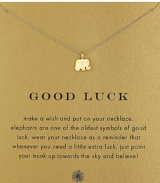 Wholesale Good Luck Wholesale - With card! Silver and gold color cute Dogeared Necklace with elephant pendant(good luck elephant), no fade, free shipping and high quality.