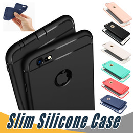 Wholesale Iphone Soft Silicone - Slim Soft TPU Silicone Case Cover Candy Colors Matte Phone Cases Shell with Dust Cap For iPhone X 8 7 6 6S Plu 5S