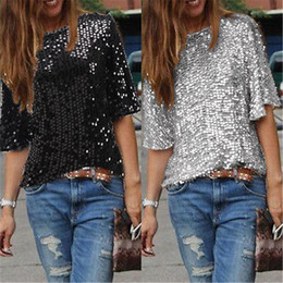 Wholesale Ladies Sequin Shirts - Wholesale- Ladies Off-shoulder Sexy Slim Loose Shirt Top Glistening Sequin T-shirt Tshirts Tees Boutique