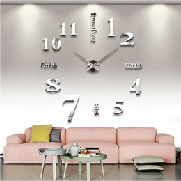 Wholesale Mirror 3d Wall Stickers - 2016 new arrival Quartz clocks fashion watches 3d real big wall clock rushed mirror sticker diy living room decor free shipping