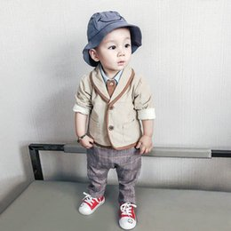 Wholesale Boys Gentlemen Clothes - 2017 Children fall suit children's wear the 1-2-3-4-5 years old gentleman boy's clothes In the autumn of baby three-piece suits