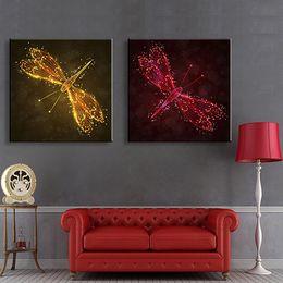 Wholesale Dragonfly Painting - Two Dragonfly LED Flashing Optical Fiber Print LED Animal Canvas Print Art Design Set Of 2