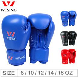 luvas de luvas de soco Desconto Wesing Pro Luvas de estilo de boxe Sparring Luva Punching Bag Mitts Treinamento Muay Thai Esporte Academia Suprimentos engrenagem Luvas 8 10 12 Oz