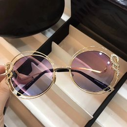 Wholesale Round Wraps - RC 1024 Sunglasses Women Brand Designer Roberto Dark Brown Snake Print Gold Brown Luxury Sunglasses UV Protection Round Frame Come With Case