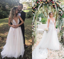 Wholesale Off Shoulder Pearl - 2018 Chic Boho Wedding Dresses V-neck Pearl Beading Tulle Floor Length Backless Sexy Beach Wedding Dresses Bohemian Bridal Gowns