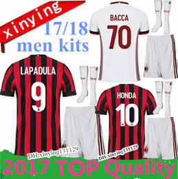 Wholesale Shirt Men Free - 10 set FREE DHL 2017 men kits + Socks soccer Jersey Top quality 17 18 AC milan JerseyS MENEZ BONAVENTURA BACCA BERTOLACCI football shirts