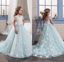 Wholesale Kids Puffy Dresses - 2017 Light Blue Lace Puffy Tulle Flower Girls Dresses for Special Weddings Long Pageant Dressess for Kids Holy Communion Dress