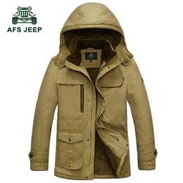 Wholesale Casual Cargo Jacket - Wholesale- M~4XL 5XL 2017 Autumn Winter Down & Parkas Cargo Fleece Thicken Jackets Khaki Coats Men Casual Cotton Hooded New Arrival Jacke