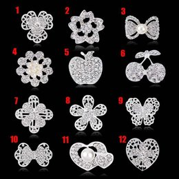 Wholesale Cake Decorations China - Crystal Rhinestones Brooches for Wedding Invitation Cake Decoration Brooch Pins Bouquet Kit pearl pins badge fashion jewelry