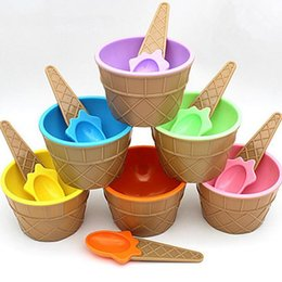 Wholesale Bowling Party Supplies - Fashion Ice Cream Bowl With A Spoon For Kids Boys Girls Plastic Dessert Cup Tubs Summer Use Party Supplies Gifts ZA3225