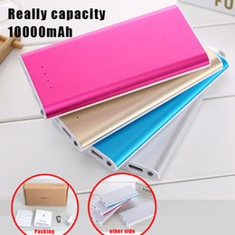 Wholesale Usb Light Iphone Retail - 10000mAH Power Bank Ultrathin External Battery Dual USB Phone Charger LED Light for iPhone 7 Plus Samsung Galaxy with Retail Package
