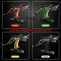 Wholesale Shot Stainless Steel - Aluminium Alloy Slingshot Hunting Powerful Catapult Many Colors Stainless Steel Sling Shot With Arrow Rest Clamp Fast Delivery