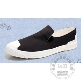 Wholesale Men Campus Shoes - Slip On Shoes Flat-bottomed Teenager Plain Men Shoes Various Campus Outdoor Color Match Canvas Scrub Leather Canvas Pedal