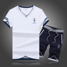 Wholesale Mens Silver Suits - Plus Size 5XL 2017 Summer 2pcs Men Top Tee Shirts Casual Tshirt+Shorts Sportwear Suit Men T-shirt Print Mens Homme Tracksuit