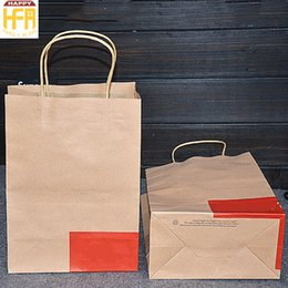 Wholesale Gifts For Store - 20*37Cm Gift Bag Portable Fashion Kraft Paper Bag Solid Eco Friendly Wrapping Bag for Home Store Shop Use