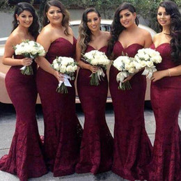 Wholesale Elegant Red Evening Dresses - An elegant red wine red mermaid bridesmaid dress in 2017 with a high-end couture evening gown