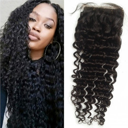 indian style hair knots Coupons - Brazilian Lace Closure with Bleached Knots Deep Wave Human Hair Cheap Lace Closure Free Part Style 4*4 G-EASY