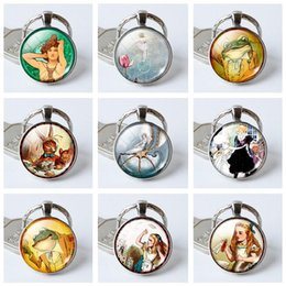 Wholesale Glass Tale - Best gift Fashion pendant art fairy tale gemstone glass keychain jewelry KR399 Keychains mix order 20 pieces a lot
