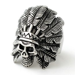 Wholesale African Feather Hat - Men's Huge Gothic Biker Huge 316L Stainless Steel Indian Chief Skull Feather Hat Ring Punk Fashion Jewelry