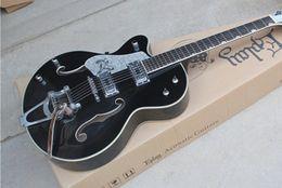 linkshänder gitarren hohlkörper jazz Rabatt Linkshänder Schwarz Custom Shop Korean Tuners Top-Qualität Falcon 6118TD Semi Hollow Body 6120 Jazz E-Gitarre Chrom Hardware