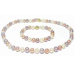 Wholesale beautiful culture - Beautiful 8-9mm Multi-color Cultured Pearl Necklace 18 inch 14k gold free Bracelet