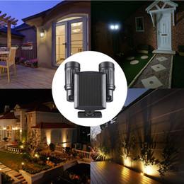 Wholesale Solar Black Light Led - New PIR Motion Sensor Light LED Solar Powered Lamp Rotatable Double Dural Heads Security Wall Lamp for Outdoor Garden