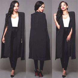 Wholesale batwing cape coat - 2017 Elegant OL Long Trench Coats Autumn Black White Long Suits Fashion Long Cape Free Shipping