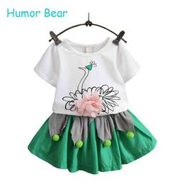 Wholesale Grils Sets - Wholesale- Humor Bear Grils Fashion Clothing Sets 2016 Brand Girls Clothes Kids Clothing Sets Swan T-Shirt + Short 2Pcs Suits