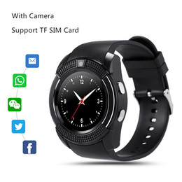 Wholesale Smart Phone Quad Band - V8 Smart Watch Quad-band Calling Clock MTK6261 Bluetooth Phone Call Notification with Camera Smartwatch for Android IOS Smartphone
