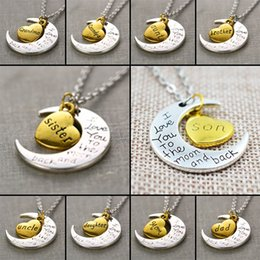 """Wholesale Fortune Necklace - 2016 New Family """"I LOVE YOU TO THE MOON AND BACK """" 10 members Necklace Pendant Fortune Gift free shipping"""