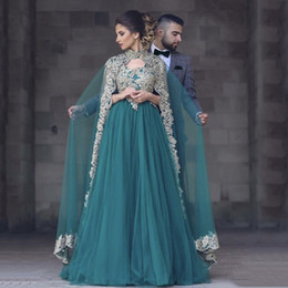 Wholesale Engagement Dresses Custom Made - 2017 Fashion Hunter Green V Neck Applique Sleeveless Prom Dresses with Cape For Engagement Evening Gowns Mother of the Bride Dress Plus Size