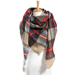 Wholesale Top Tartan Scarf - 19 colors Top quality za Winter Scarf Plaid Scarf Designer Unisex Acrylic Basic Shawls Women's Scarves hot sale VS051