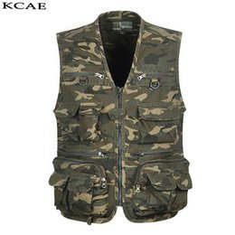 Wholesale Casual Male Camouflage Vest - Wholesale- New Camouflage Vest Men Photography Cameraman Mesh Male Vest Director Reporter Vest With Many Pockets Men Sleeveless Jacket