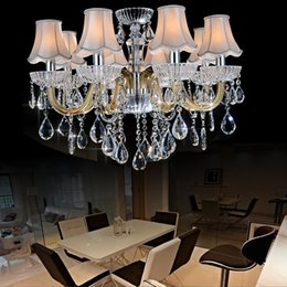 Wholesale Glass Chandelier Light Covers - lamp 8 light iron chandelier glass arms chandelier fabric lamp cover chandelier cookroom living room dining room bedroom crystal lighting