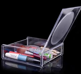 Wholesale Eco Cosmetic Boxes Wholesale - Fashion Square 2 space Transparent Crystal Storage Box makeup Organizer Cosmetic Acrylic Clear Jewelry Display Case with Mirror DHL 72pcs