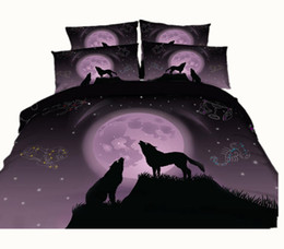 Wholesale Duvet 3d Cover Purple - 3 Styles Scorpio Libra Leo Purple Wolf 3D Printed Bedding Sets Twin Full Queen King Size Duvet Covers Pillowcases Comforter Animal Galaxy